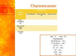 Оценивание min – 0 max– 19 Оценивание: 19-18 балла – «9»; 17-16 балл – «8»; 1