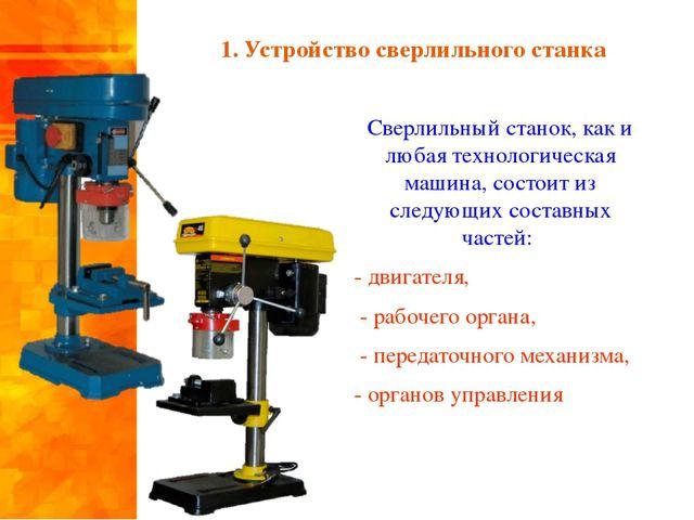 1. Устройство сверлильного станка Сверлильный станок, как и любая технологиче...