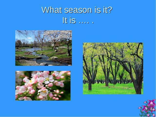 What season is it? It is …. .