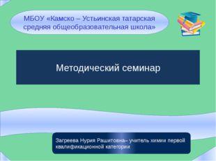 Методический семинар МБОУ «Камско – Устьинская татарская средняя общеобразов