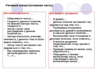 Речевые клише (основная часть): Для первого аргумента: Обратимся к тексту…. С