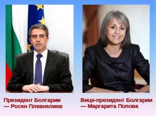 Президент Болгарии — Росен Плевнелиев Вице-президент Болгарии — Маргарита Поп