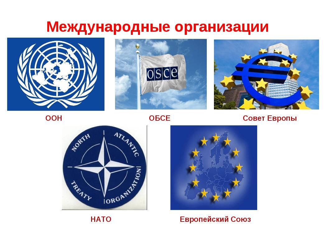 Международные организации ООН ОБСЕ Совет Европы НАТО Европейский Союз