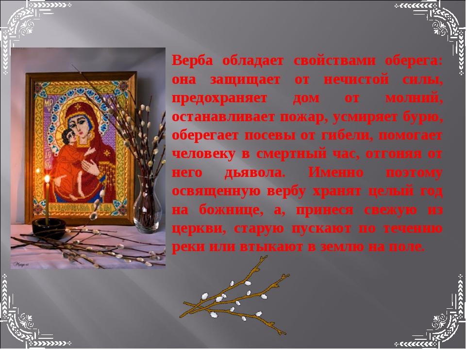 Верба обладает свойствами оберега: она защищает от нечистой силы, предохраняе...