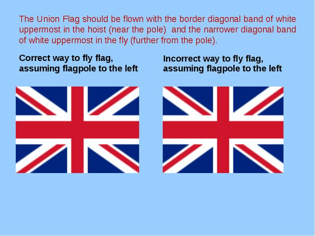 The Union Flag should be flown with the border diagonal band of white uppermo...