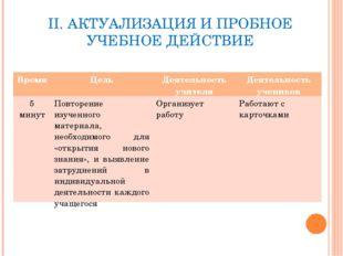 II. АКТУАЛИЗАЦИЯ И ПРОБНОЕ УЧЕБНОЕ ДЕЙСТВИЕ ВремяЦельДеятельность учителяД