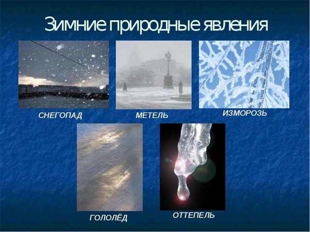 Зимние природные явления СНЕГОПАД МЕТЕЛЬ ИЗМОРОЗЬ ГОЛОЛЁД ОТТЕПЕЛЬ