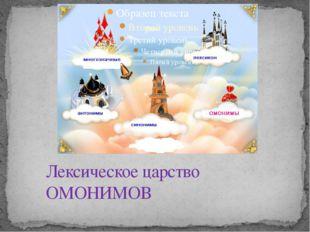 Лексическое царство ОМОНИМОВ