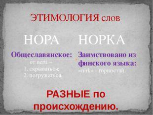 ЭТИМОЛОГИЯ слов РАЗНЫЕ по происхождению. НОРА НОРКА Общеславянское: отnerti–