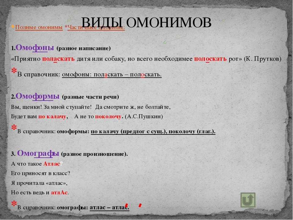 Полные омонимы *Частичные омонимы: 1.Омофоны (разное написание) «Приятно...