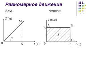 Равномерное движение S=vt v=const