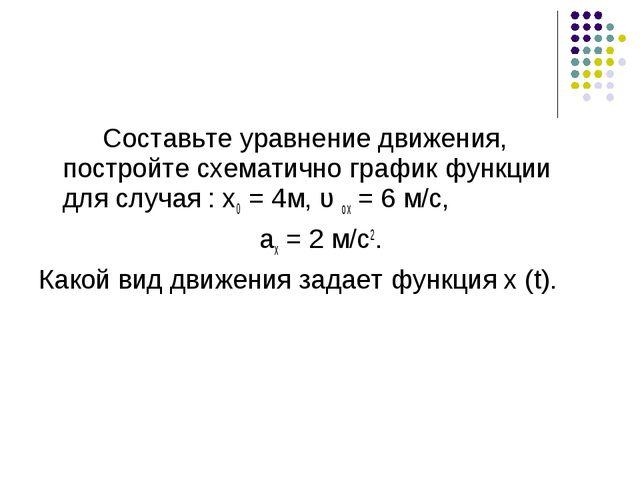 Составьте уравнение движения, постройте схематично график функции для случа...