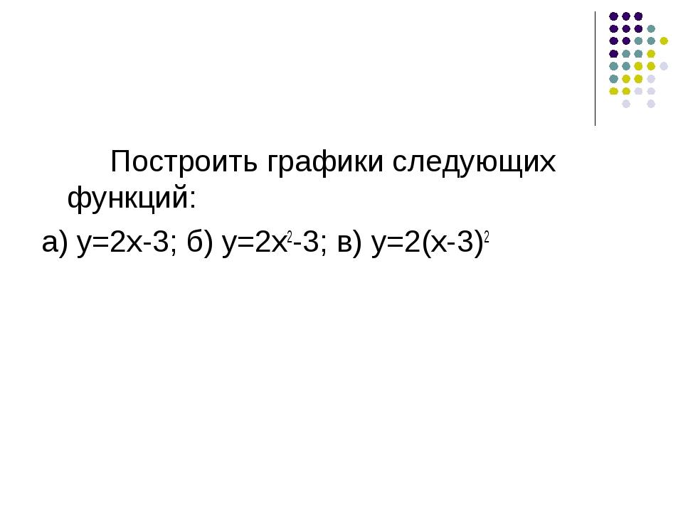 Построить графики следующих функций: а) y=2x-3; б) y=2x2-3; в) y=2(x-3)2