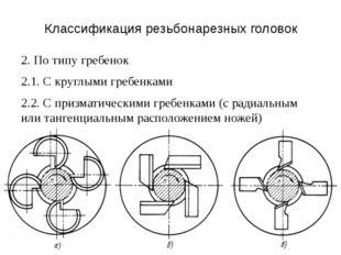 Классификация резьбонарезных головок 2. По типу гребенок 2.1. С круглыми греб