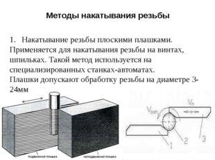 Методы накатывания резьбы Накатывание резьбы плоскими плашками. Применяется д