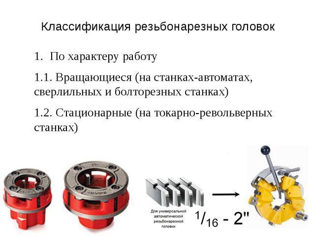 Классификация резьбонарезных головок По характеру работу 1.1. Вращающиеся (на...