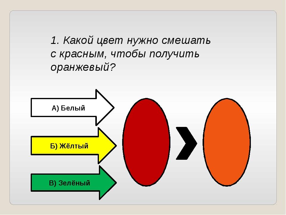 1. Какой цвет нужно смешать с красным, чтобы получить оранжевый? А) Белый Б)...