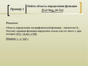 Пример 1 Найти область определения функции f(x)=log8 (4-5x) Решение: Область