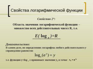 Свойства логарифмической функции Свойство 2°: Область значения логарифмическо