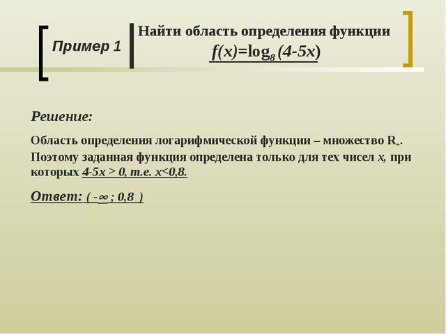Пример 1 Найти область определения функции f(x)=log8 (4-5x) Решение: Область...