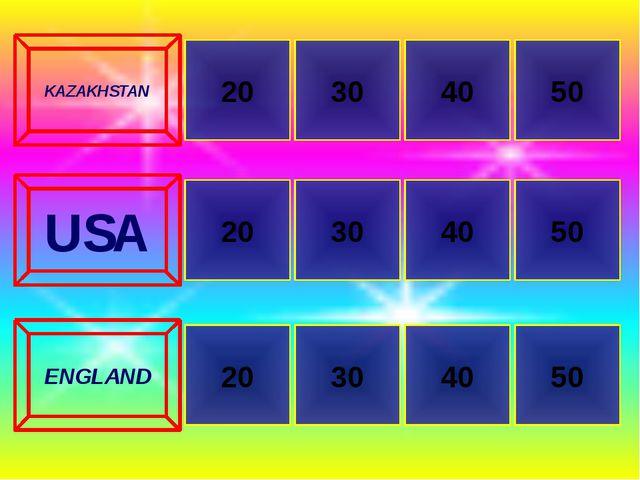 20 20 50 30 30 50 40 40 KAZAKHSTAN USA ENGLAND 20 30 40 50