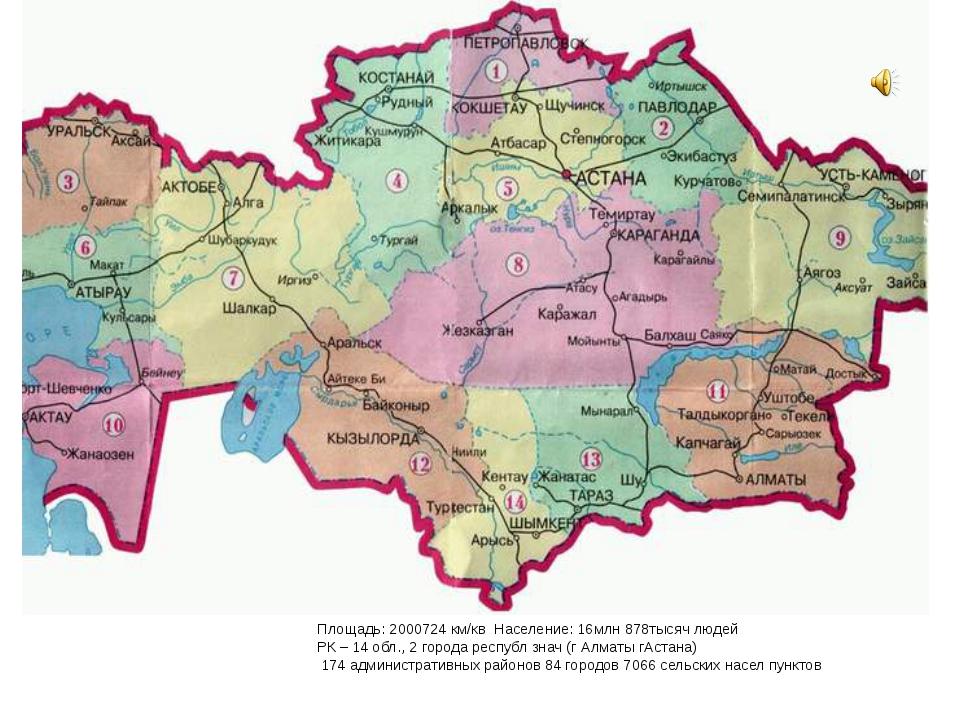 Площадь: 2000724 км/кв Население: 16млн 878тысяч людей РК – 14 обл., 2 города...