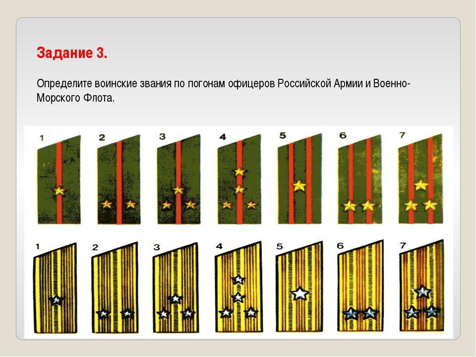 Задание 3. Определите воинские звания по погонам офицеров Российской Армии и...