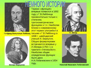 Термин «функция» впервые появился в 1692 году у Г.В.Лейбница применительно то