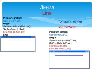 Толщина линии setPenWidth Линия Line Program grafika; Uses graphABC; Begin Se