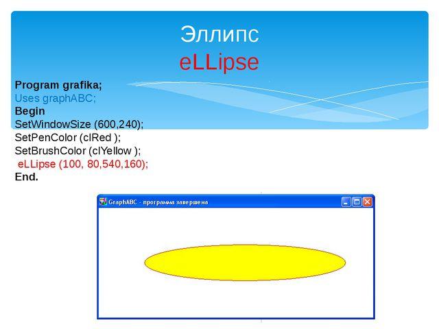 Эллипс eLLipse Program grafika; Uses graphABC; Begin SetWindowSize (600,240);...