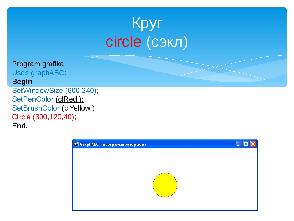Круг circle (сэкл) Program grafika; Uses graphABC; Begin SetWindowSize (600,2...