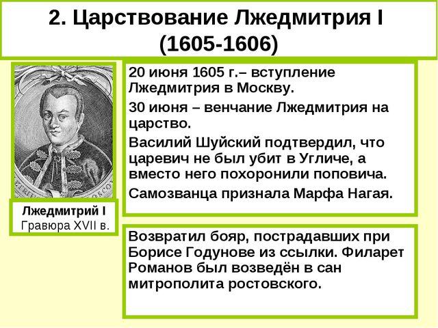 20 июня 1605 г.– вступление Лжедмитрия в Москву. 30 июня – венчание Лжедмитри...