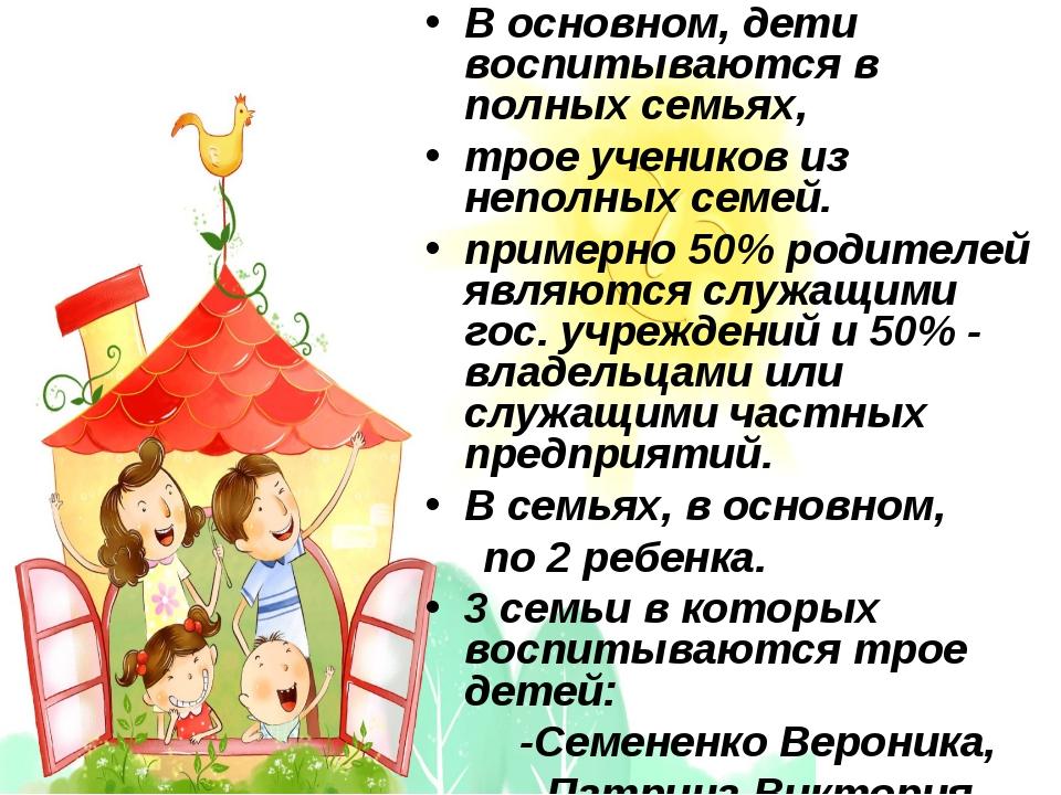 В основном, дети воспитываются в полных семьях, трое учеников из неполных се...