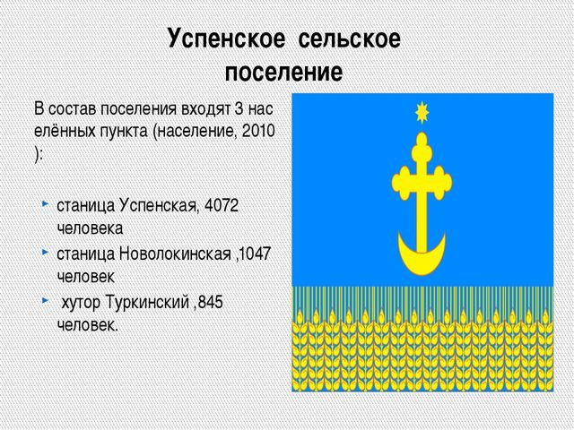 Успенское сельское поселение Всоставпоселениявходят3населённыхпункта...