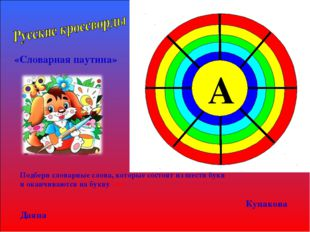 «Словарная паутина» Подбери словарные слова, которые состоят из шести букв и