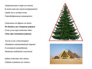 Треугольников в мире не счесть В жизни нам они часто встречаются Среди них и