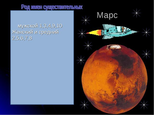 Марс мужской 1,3,4,9,10 Женский и средний 2,5,6,7,8