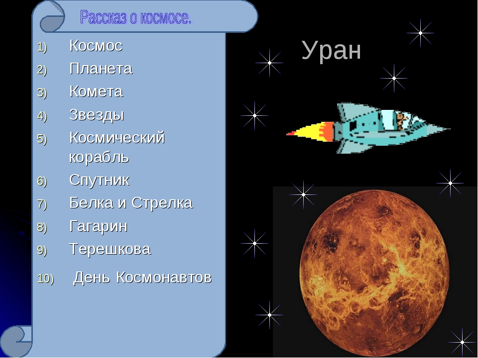 Уран Космос Планета Комета Звезды Космический корабль Спутник Белка и Стрелк...
