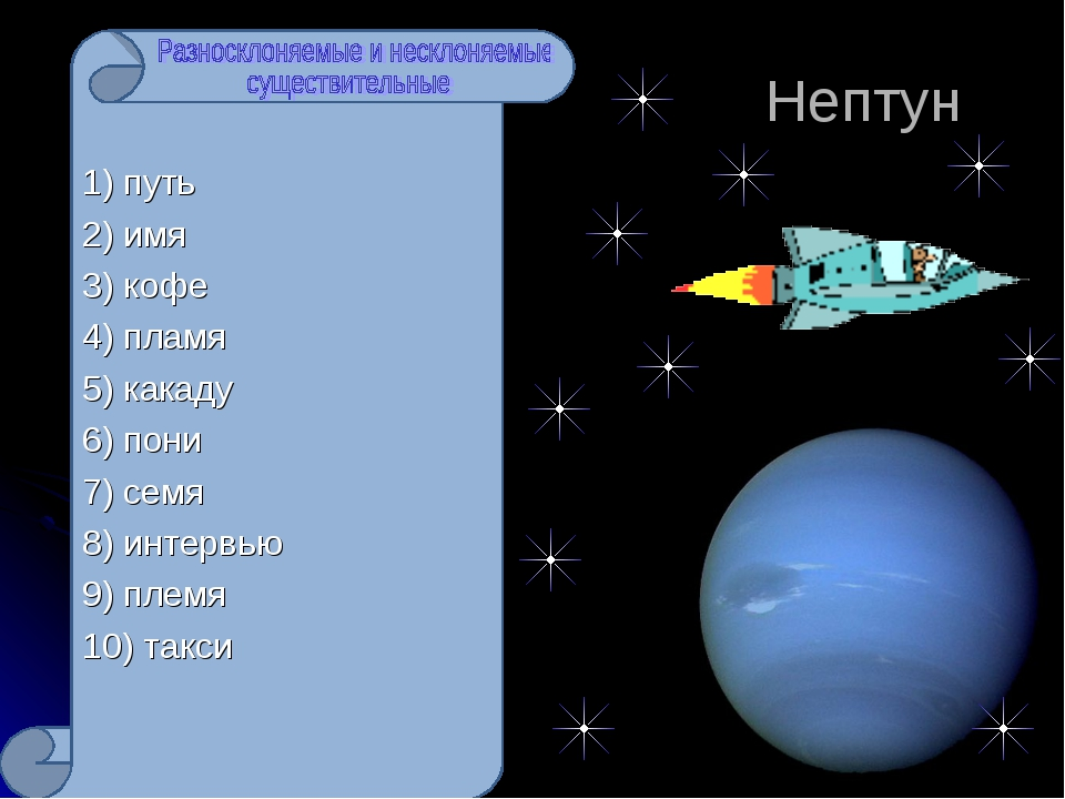 Нептун 1) путь 2) имя 3) кофе 4) пламя 5) какаду 6) пони 7) семя 8) интервью...