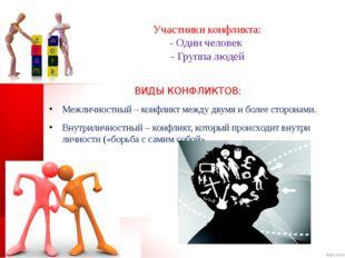 Участники конфликта: - Один человек - Группа людей ВИДЫ КОНФЛИКТОВ: Межличнос