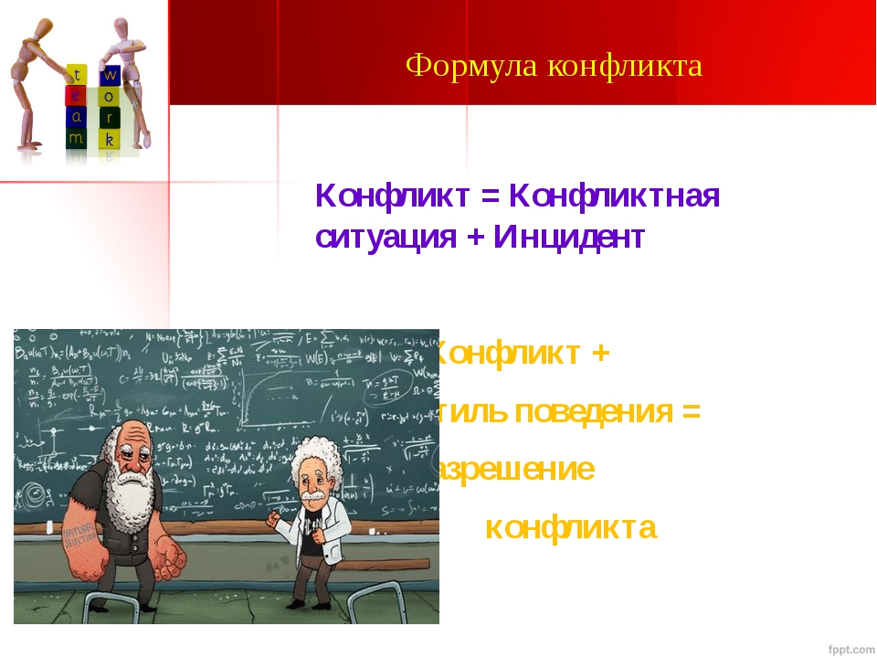 Формула конфликта Конфликт = Конфликтная ситуация + Инцидент Конфликт + Стиль...
