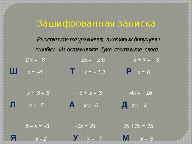 Зашифрованная записка Вычеркните те уравнения, в которых допущены ошибки. Из...