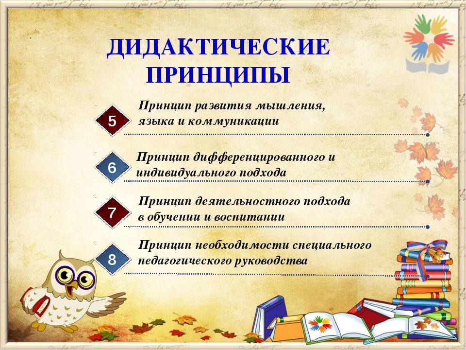 ДИДАКТИЧЕСКИЕ ПРИНЦИПЫ Принцип развития мышления, языка и коммуникации 5 Прин...