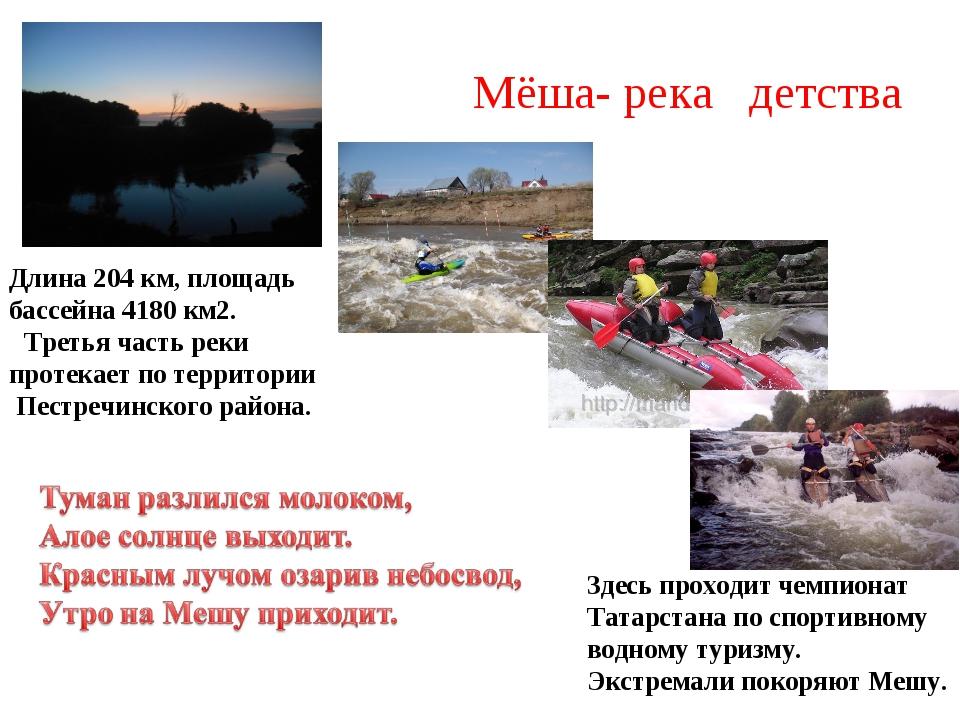 Мёша- река детства Длина 204 км, площадь бассейна 4180 км2.  Третья часть...