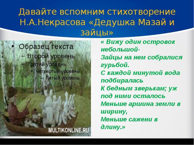 Давайте вспомним стихотворение Н.А.Некрасова «Дедушка Мазай и зайцы» « Вижу...