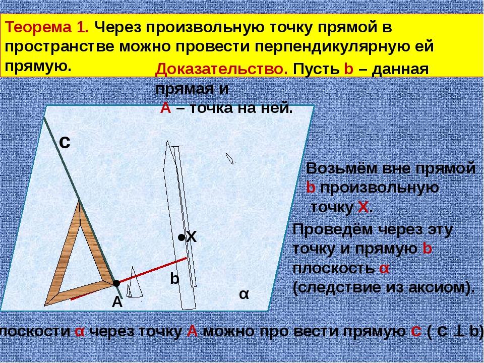 Теорема 3. Через любую точку пространства, не принадлежащую прямой, можно про...