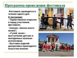 Программа проведения фестиваля Фестиваль проводится в течение одного дня. В п