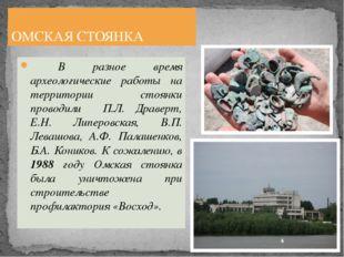 В разное время археологические работы на территории стоянки проводили П.Л. Д