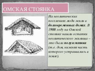 На неолитических поселениях люди жили в долговременных домах. В 1988 году на