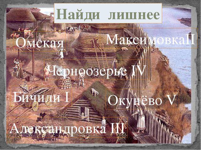 Омская Черноозерье IV Бичили I Окунёво V МаксимовкаII Найди лишнее Александро...